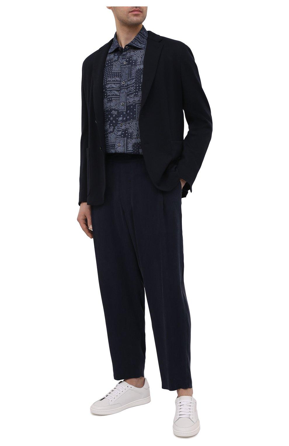Мужская льняная рубашка 120% LINO темно-синего цвета, арт. T0M1311/F970/000 | Фото 2 (Манжеты: На пуговицах; Рукава: Длинные; Воротник: Акула; Случай: Повседневный; Длина (для топов): Стандартные; Принт: С принтом; Материал внешний: Лен; Мужское Кросс-КТ: Рубашка-одежда; Стили: Кэжуэл)