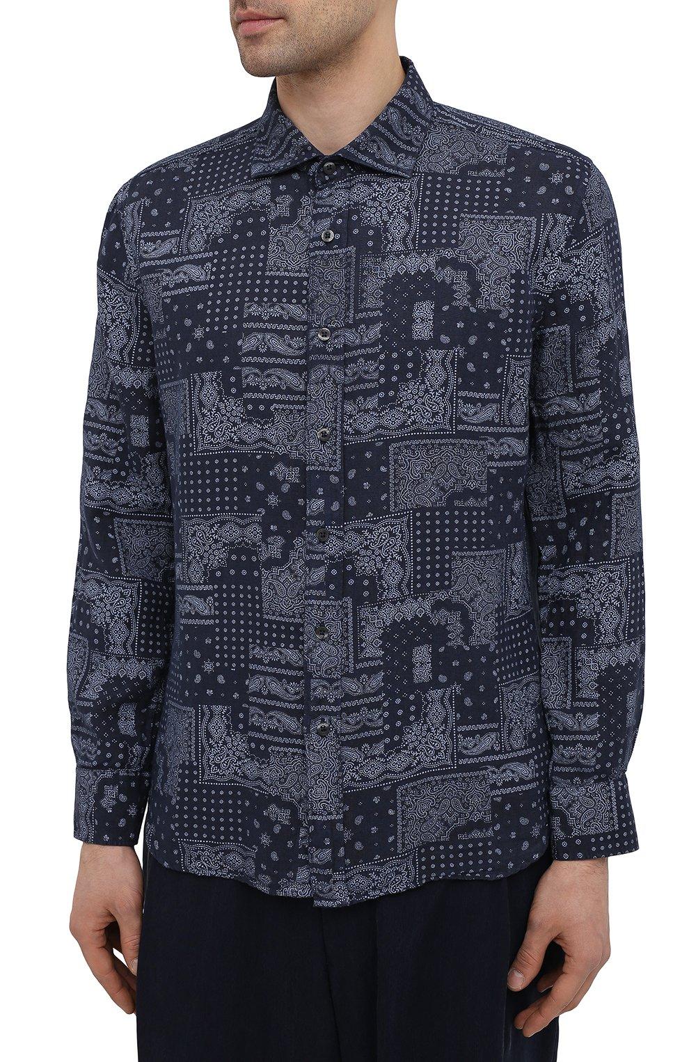 Мужская льняная рубашка 120% LINO темно-синего цвета, арт. T0M1311/F970/000 | Фото 3 (Манжеты: На пуговицах; Рукава: Длинные; Воротник: Акула; Случай: Повседневный; Длина (для топов): Стандартные; Принт: С принтом; Материал внешний: Лен; Мужское Кросс-КТ: Рубашка-одежда; Стили: Кэжуэл)