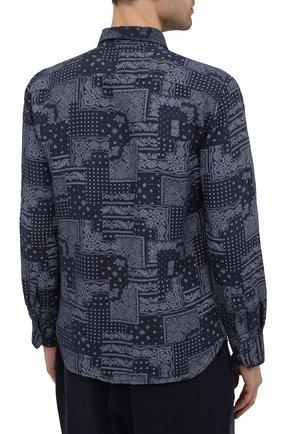 Мужская льняная рубашка 120% LINO темно-синего цвета, арт. T0M1311/F970/000 | Фото 4 (Манжеты: На пуговицах; Рукава: Длинные; Воротник: Акула; Случай: Повседневный; Длина (для топов): Стандартные; Принт: С принтом; Материал внешний: Лен; Мужское Кросс-КТ: Рубашка-одежда; Стили: Кэжуэл)