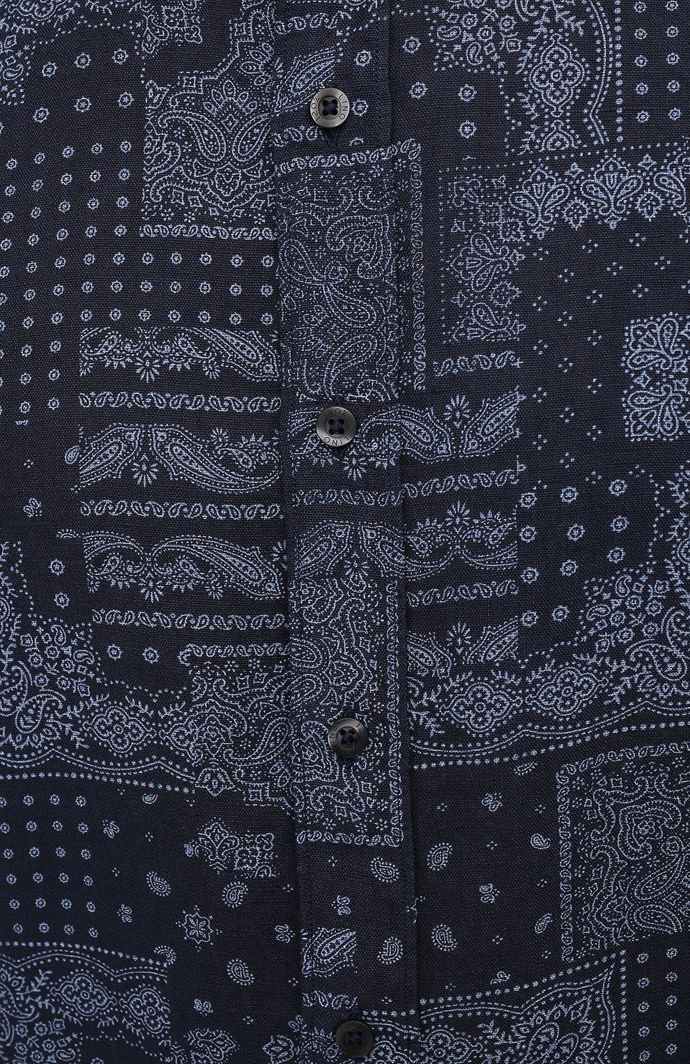 Мужская льняная рубашка 120% LINO темно-синего цвета, арт. T0M1311/F970/000 | Фото 5 (Манжеты: На пуговицах; Рукава: Длинные; Воротник: Акула; Случай: Повседневный; Длина (для топов): Стандартные; Принт: С принтом; Материал внешний: Лен; Мужское Кросс-КТ: Рубашка-одежда; Стили: Кэжуэл)