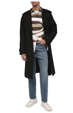 Мужские кожаные кеды OFFICINE CREATIVE кремвого цвета, арт. LEGGERA/014/DEER | Фото 2