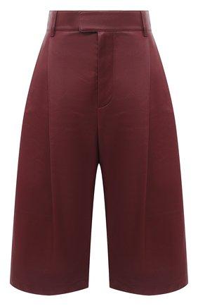 Женские кожаные шорты BOTTEGA VENETA бордового цвета, арт. 652742/VKV90 | Фото 1