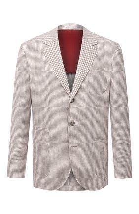 Мужской пиджак изо льна и шерсти BRUNELLO CUCINELLI бежевого цвета, арт. MW4407LND | Фото 1
