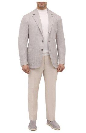 Мужской пиджак изо льна и шерсти BRUNELLO CUCINELLI бежевого цвета, арт. MW4407LND | Фото 2