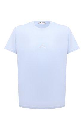 Мужская хлопковая футболка GIVENCHY голубого цвета, арт. BM710S3002 | Фото 1