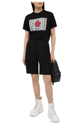 Женская хлопковая футболка DSQUARED2 черного цвета, арт. S75GD0162/S23009 | Фото 2