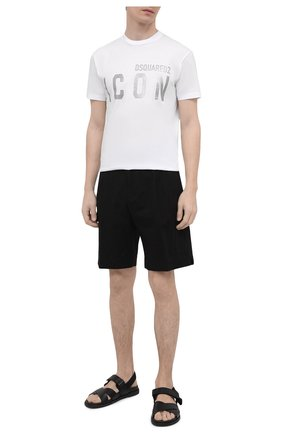 Мужская хлопковая футболка DSQUARED2 белого цвета, арт. S79GC0019/S23009   Фото 2
