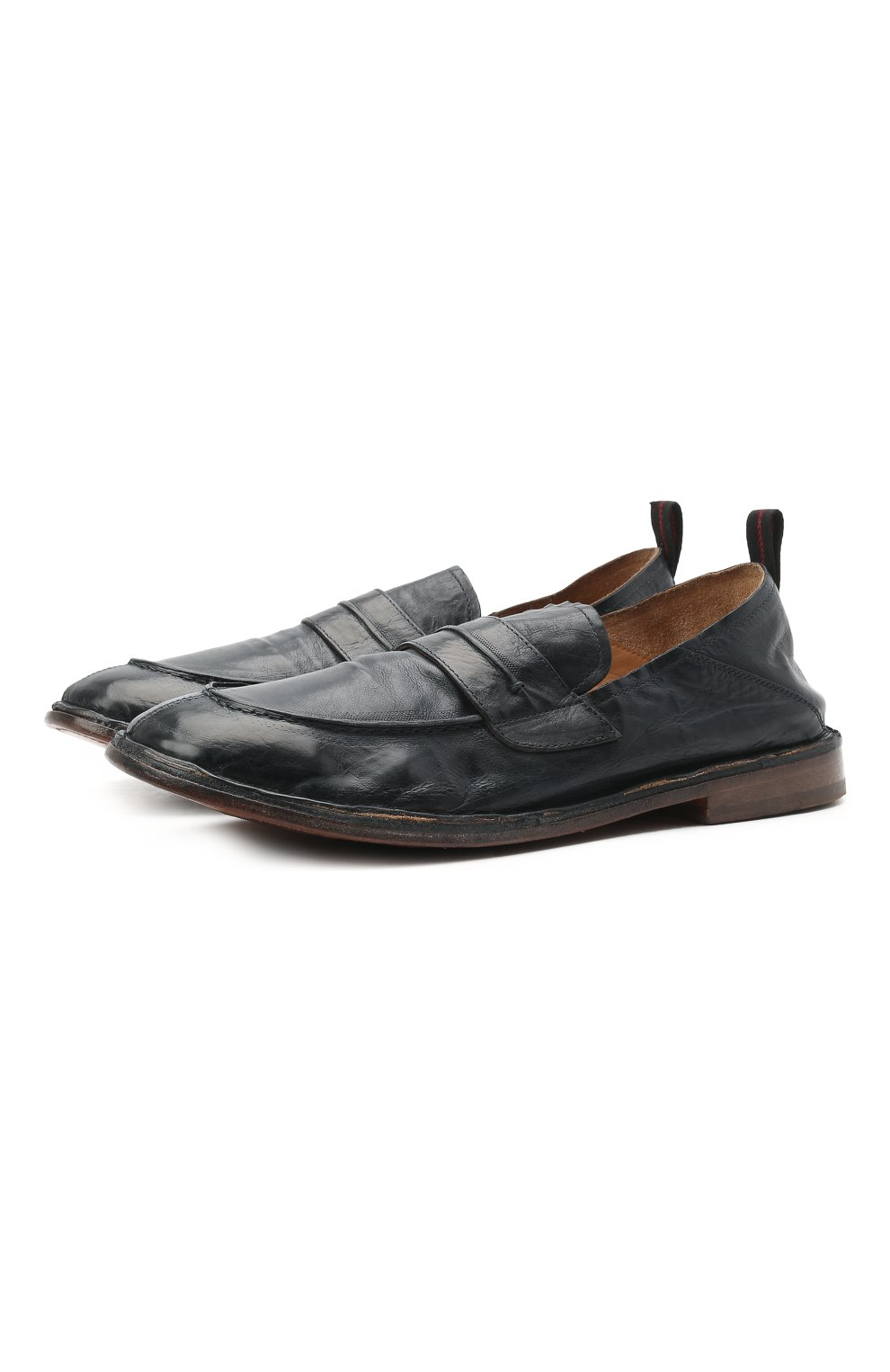 Мужские кожаные лоферы MOMA темно-синего цвета, арт. 2ES044-S0 | Фото 1 (Мужское Кросс-КТ: Лоферы-обувь; Материал внутренний: Натуральная кожа; Стили: Кэжуэл)