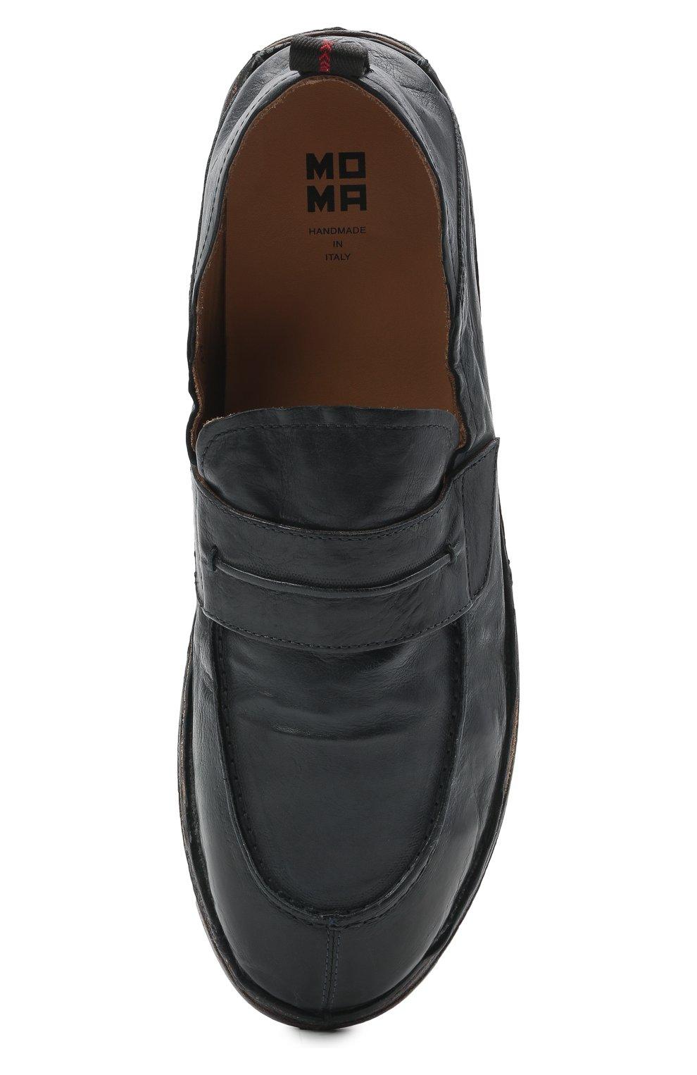 Мужские кожаные лоферы MOMA темно-синего цвета, арт. 2ES044-S0 | Фото 5 (Мужское Кросс-КТ: Лоферы-обувь; Материал внутренний: Натуральная кожа; Стили: Кэжуэл)