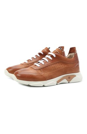 Мужские кожаные кроссовки MOMA коричневого цвета, арт. 4AS018-S0 | Фото 1