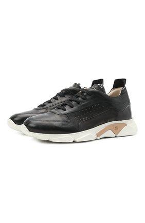 Мужские кожаные кроссовки MOMA черного цвета, арт. 4AS018-S0 | Фото 1