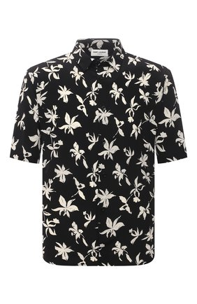 Мужская шелковая рубашка SAINT LAURENT черного цвета, арт. 601070/Y2C16 | Фото 1