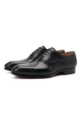 Мужские кожаные оксфорды MAGNANNI черного цвета, арт. 23803/WIND | Фото 1