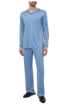 Мужская пижама ZIMMERLI голубого цвета, арт. 188-96071 | Фото 1 (Длина (брюки, джинсы): Стандартные; Длина (для топов): Стандартные; Рукава: Длинные; Материал внешний: Лиоцелл; Кросс-КТ: домашняя одежда)