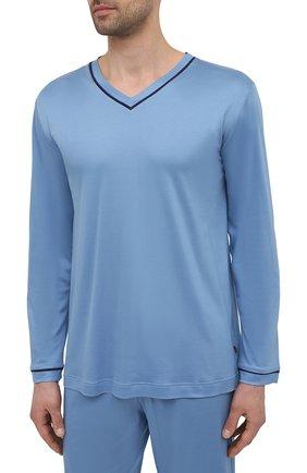 Мужская пижама ZIMMERLI голубого цвета, арт. 188-96071 | Фото 2 (Длина (брюки, джинсы): Стандартные; Длина (для топов): Стандартные; Рукава: Длинные; Материал внешний: Лиоцелл; Кросс-КТ: домашняя одежда)