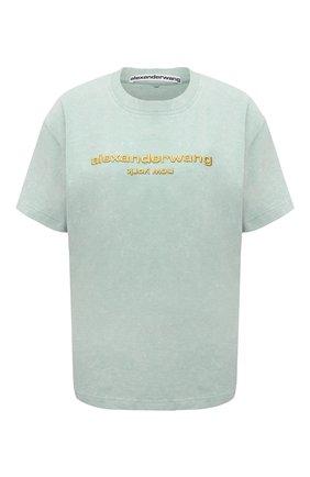 Женская хлопковая футболка ALEXANDER WANG светло-зеленого цвета, арт. UCC1211030 | Фото 1