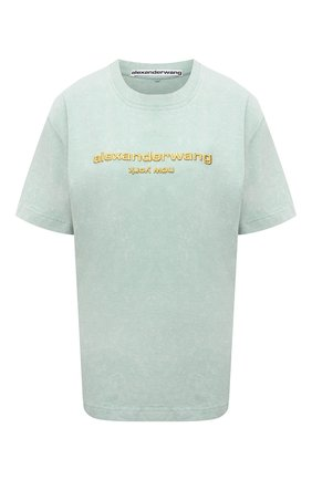 Женская хлопковая футболка DENIM X ALEXANDER WANG голубого цвета, арт. UCC1211030   Фото 1