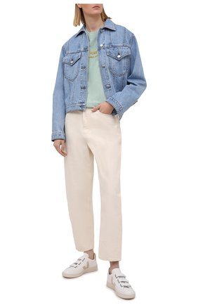 Женская хлопковая футболка DENIM X ALEXANDER WANG голубого цвета, арт. UCC1211030   Фото 2