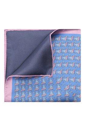 Мужской шелковый платок ZILLI синего цвета, арт. 51615/HANDKERCHIEF | Фото 1