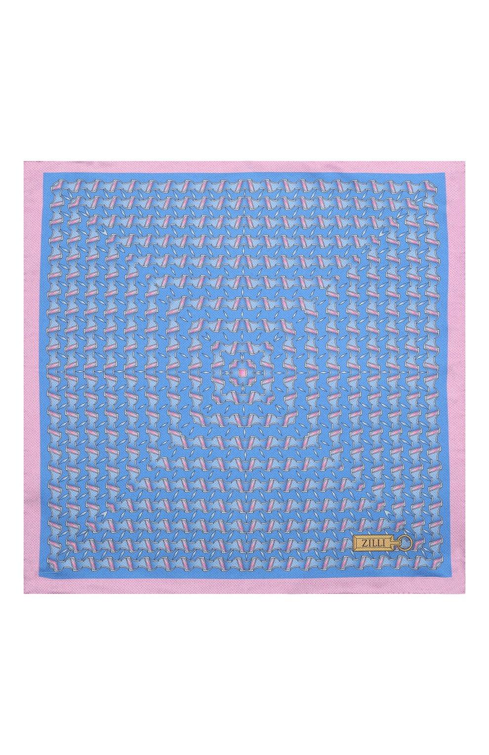 Мужской шелковый платок ZILLI синего цвета, арт. 51615/HANDKERCHIEF | Фото 3