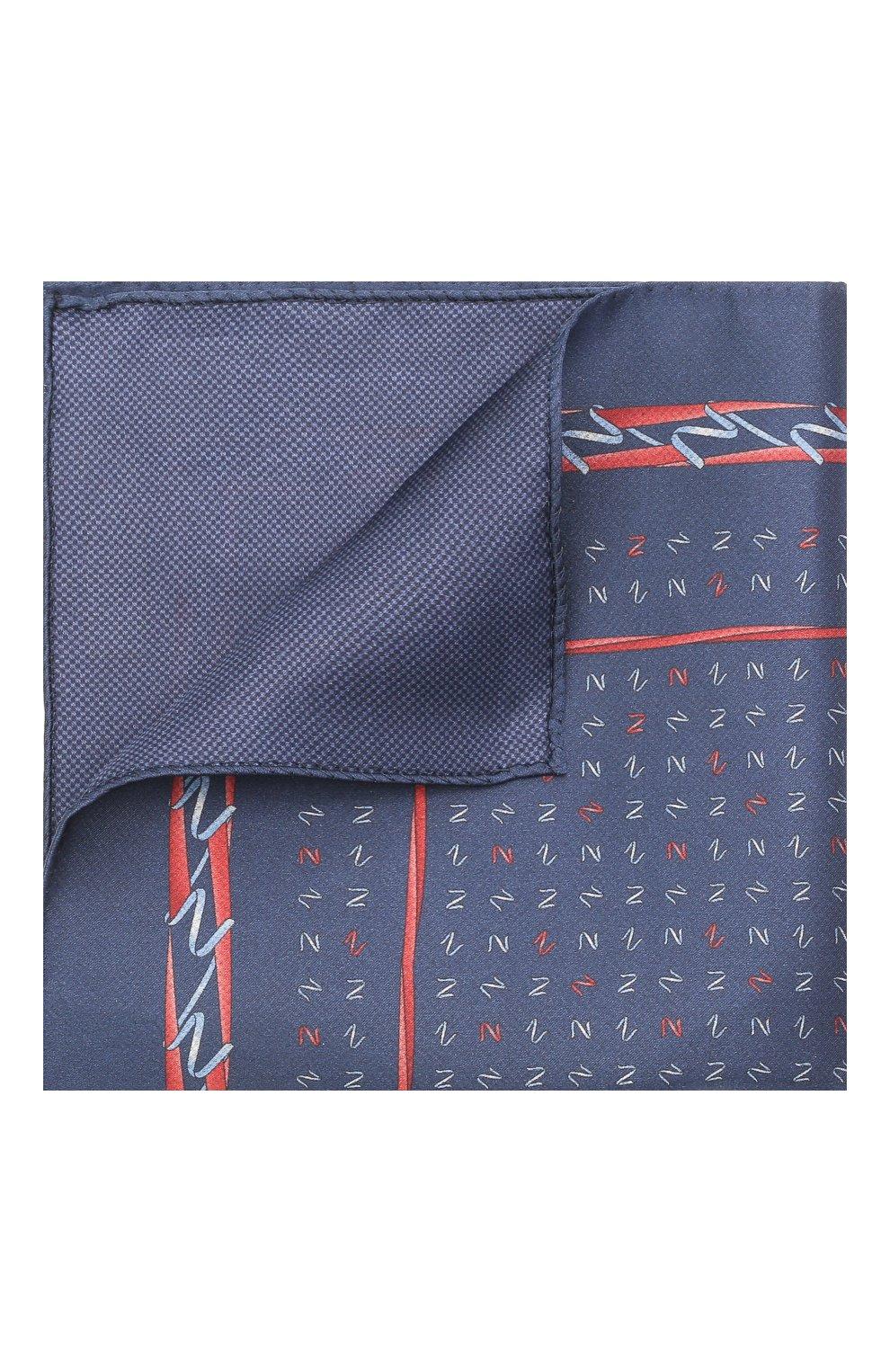 Мужской шелковый платок ZILLI темно-синего цвета, арт. 51609/HANDKERCHIEF   Фото 1