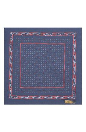 Мужской шелковый платок ZILLI темно-синего цвета, арт. 51609/HANDKERCHIEF   Фото 3