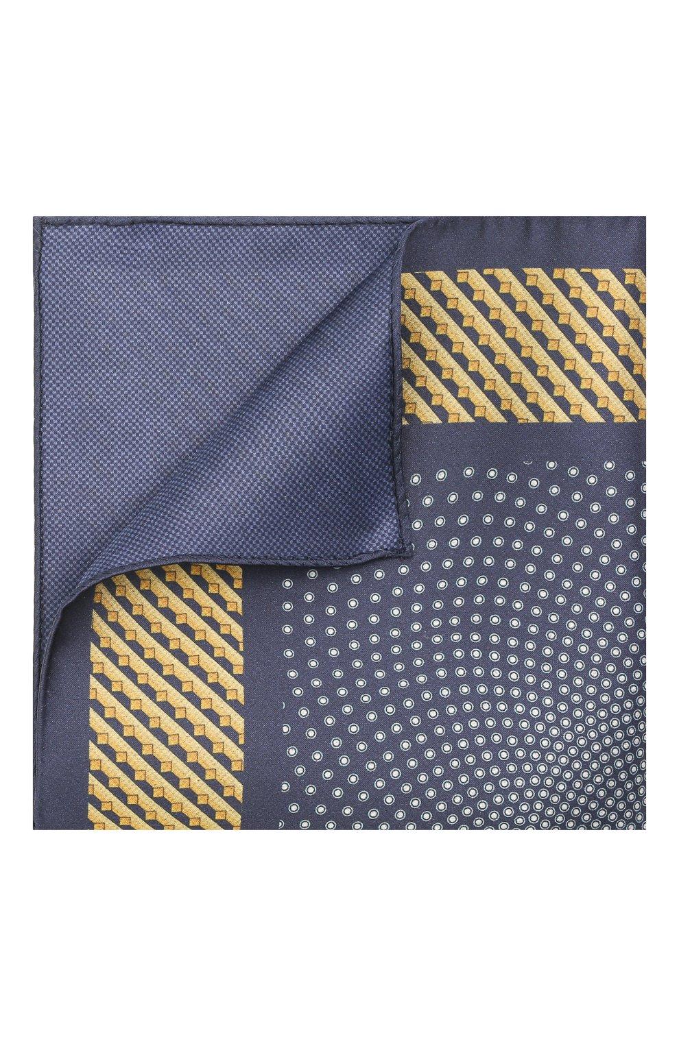 Мужской шелковый платок ZILLI синего цвета, арт. 51606/HANDKERCHIEF   Фото 1