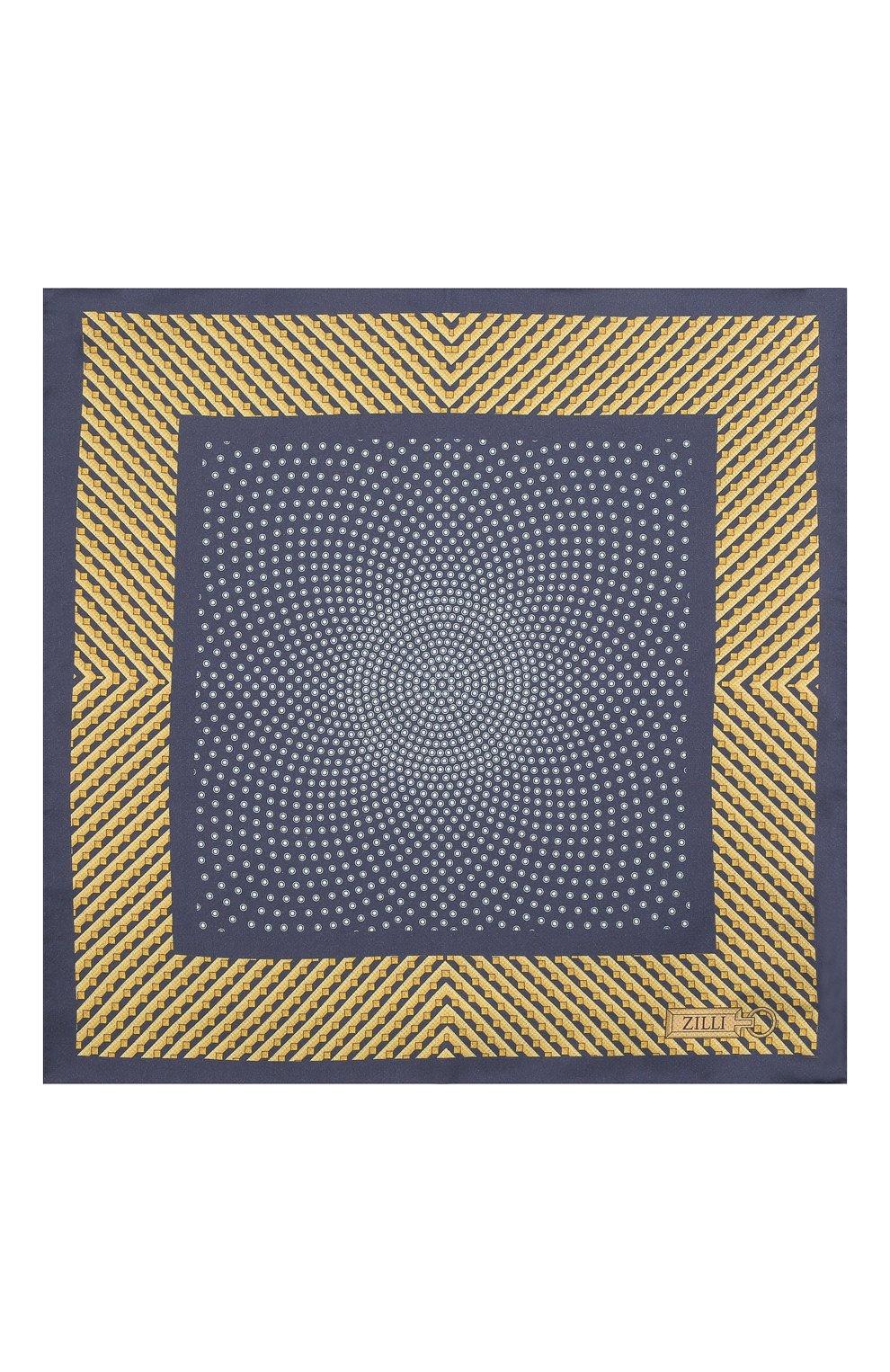 Мужской шелковый платок ZILLI синего цвета, арт. 51606/HANDKERCHIEF   Фото 3