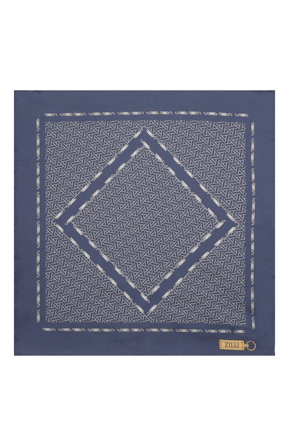 Мужской шелковый платок ZILLI синего цвета, арт. 51603/HANDKERCHIEF | Фото 3