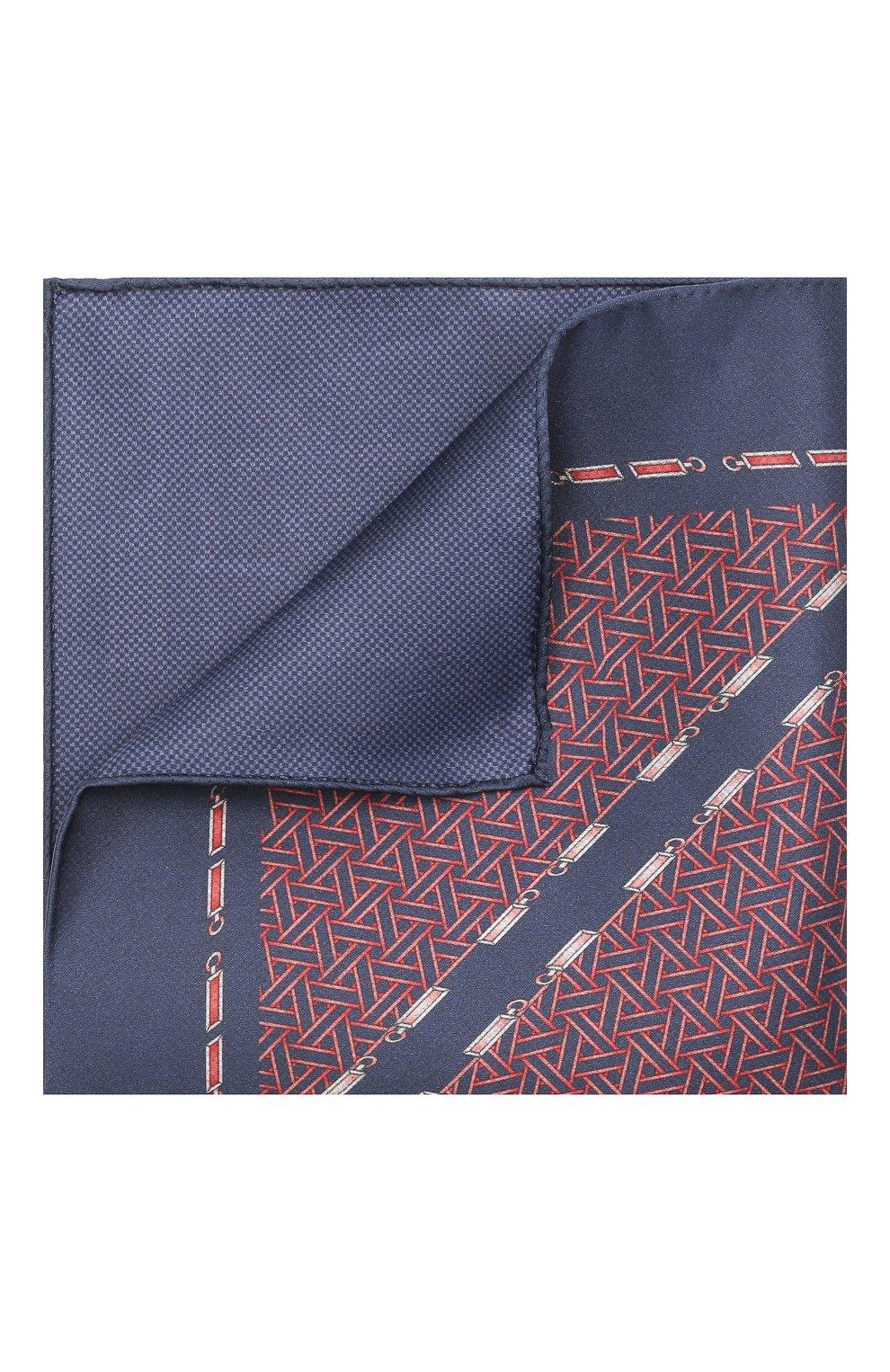 Мужской шелковый платок ZILLI синего цвета, арт. 51603/HANDKERCHIEF | Фото 1