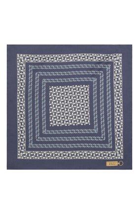 Мужской шелковый платок ZILLI темно-синего цвета, арт. 51600/HANDKERCHIEF | Фото 3