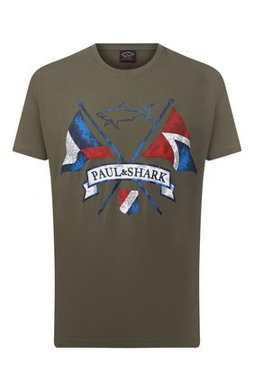 Мужская хлопковая футболка PAUL&SHARK хаки цвета, арт. 21411018/C00 | Фото 1