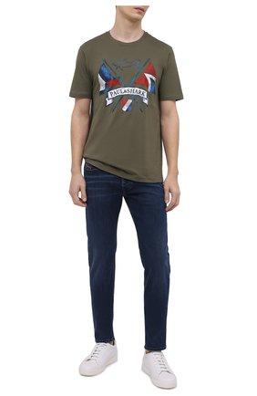Мужская хлопковая футболка PAUL&SHARK хаки цвета, арт. 21411018/C00 | Фото 2
