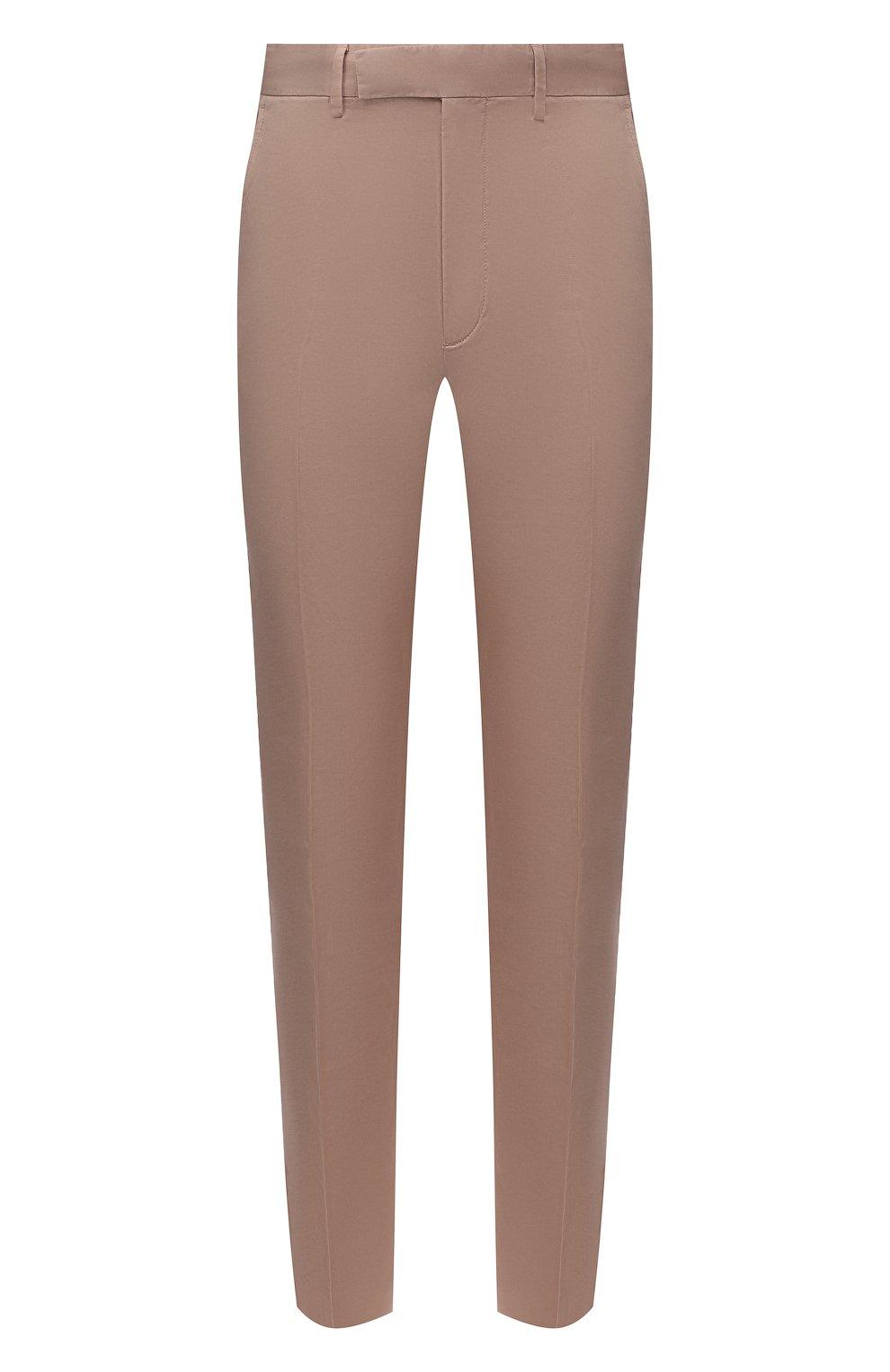 Мужские брюки из хлопка и льна ERMENEGILDO ZEGNA бежевого цвета, арт. UWI37/TR10   Фото 1