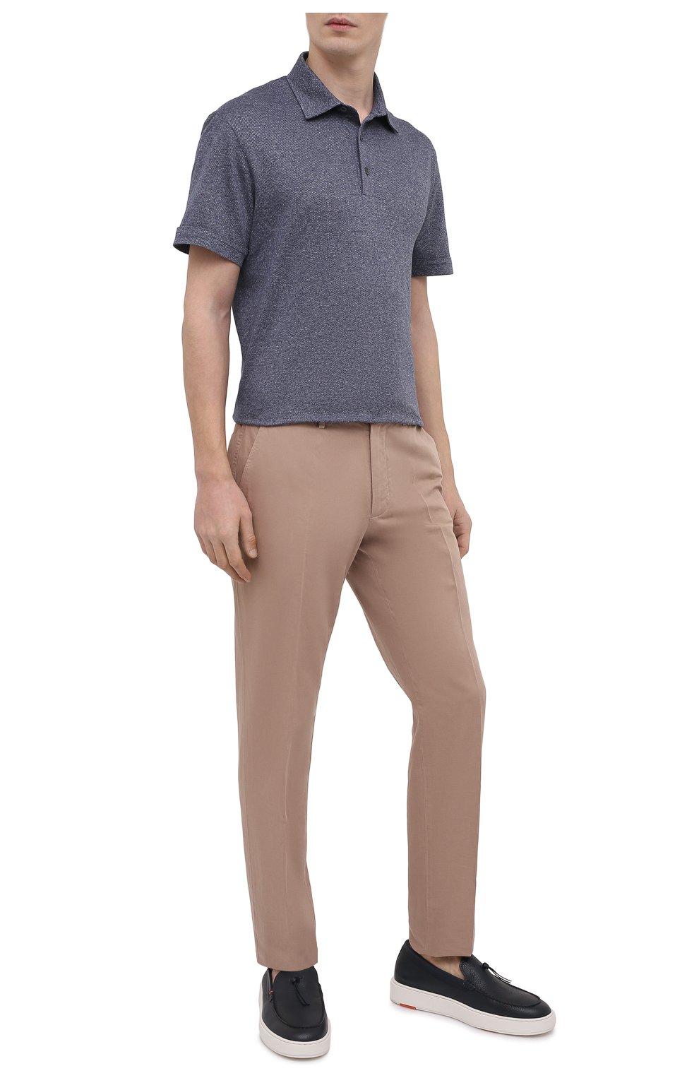 Мужские брюки из хлопка и льна ERMENEGILDO ZEGNA бежевого цвета, арт. UWI37/TR10   Фото 2