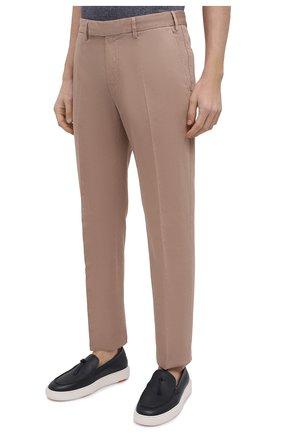 Мужские брюки из хлопка и льна ERMENEGILDO ZEGNA бежевого цвета, арт. UWI37/TR10   Фото 3