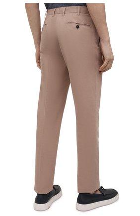 Мужские брюки из хлопка и льна ERMENEGILDO ZEGNA бежевого цвета, арт. UWI37/TR10   Фото 4