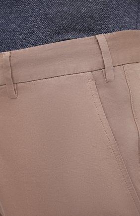 Мужские брюки из хлопка и льна ERMENEGILDO ZEGNA бежевого цвета, арт. UWI37/TR10   Фото 5