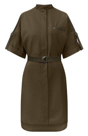 Женское хлопковое платье YVES SALOMON хаки цвета, арт. 20EYR03996C0XW | Фото 1