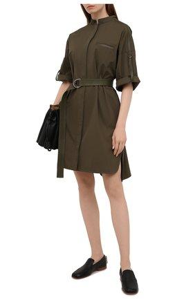 Женское хлопковое платье YVES SALOMON хаки цвета, арт. 20EYR03996C0XW | Фото 2