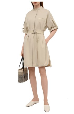Женское хлопковое платье YVES SALOMON бежевого цвета, арт. 20EYR03996C0XW | Фото 2