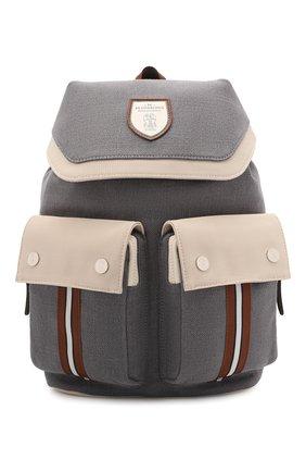 Детская рюкзак из хлопка и льна BRUNELLO CUCINELLI серого цвета, арт. BCANYB102   Фото 1