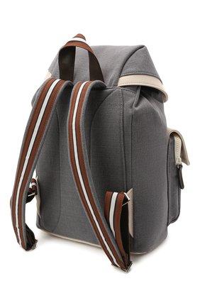 Детская рюкзак из хлопка и льна BRUNELLO CUCINELLI серого цвета, арт. BCANYB102   Фото 2