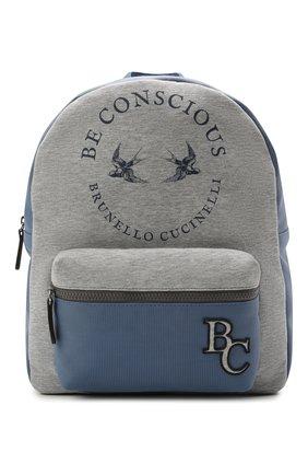 Детская хлопковый рюкзак BRUNELLO CUCINELLI голубого цвета, арт. BGLSTB103 | Фото 1
