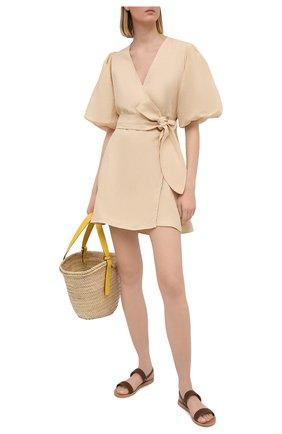 Женское льняное платье FAITHFULL THE BRAND бежевого цвета, арт. FF1685-PSD | Фото 2