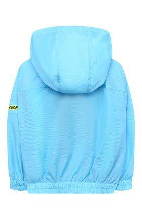 Детского ветровка с капюшоном BURBERRY голубого цвета, арт. 8039665 | Фото 2