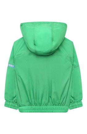 Детского ветровка с капюшоном BURBERRY зеленого цвета, арт. 8038529 | Фото 2