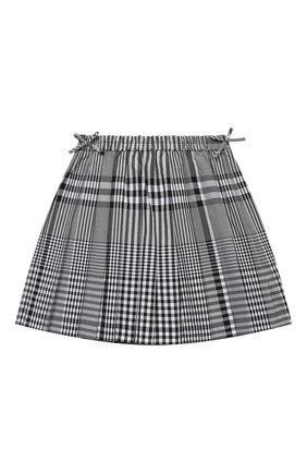 Детская хлопковая юбка BURBERRY черного цвета, арт. 8038355 | Фото 1