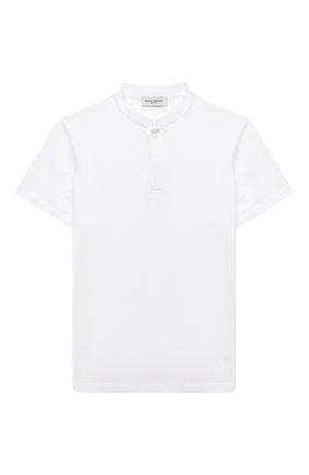 Детская хлопковая рубашка PAOLO PECORA MILANO белого цвета, арт. PP2584/8A-12A | Фото 1 (Материал внешний: Хлопок; Случай: Повседневный; Рукава: Короткие; Ростовка одежда: 10 - 11 лет | 140 - 146см, 12 лет | 152 см, 8 лет | 128 см)