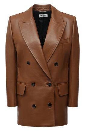 Женский кожаный жакет SAINT LAURENT коричневого цвета, арт. 648323/Y50A2 | Фото 1